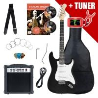 Set Rocktile Banger - chitarra elettrica con amplificatorem borsa, stringhe, accordatore, Nero