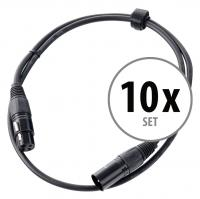 Pronomic Stage XFXM-1 Mikrofonkabel XLR 1 m Schwarz 10er Set