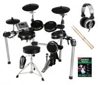 Carlsbro CSD501 E-Drum Kit Komplettset mit Kopfhörer, Hocker, Schule und Sticks
