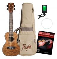 Flight DUC410 Quilted Ash Konzert Ukulele Set