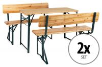 Stagecaptain BBDL-119 Hirschgarten Bierzeltgarnitur mit Lehne für Balkon 119 cm Natur 2x Set