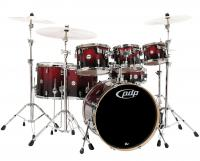 DW PDP Concept Maple 7 Rock Red to Black Sparkle Fade