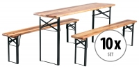 10x Stagecaptain Hirschgarten beer table set of 20 benches and 10 tables, length 177 cm