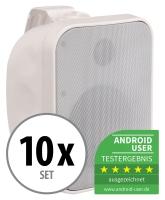 10er Set Pronomic OLS-5 WH Outdoor-Lautsprecher weiß 10x 80 Watt