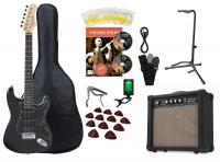 Rocktile Quper Kit guitares noir, ampli, accordeur, capodastre, courroie, plectres, housse, statif