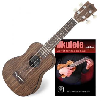 Classic Cantabile Ukulele Sopran Walnuss SET inkl. Ukulele Basics