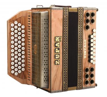 Zupan Vintage IVD,  Harmonika Olive G-C-F-B Halbtöne, Mollbässe, H-Bass, verst. Tastendruck