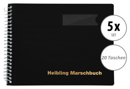 5er Set Helbling BMS20 Marschbuch schwarz 20 Taschen