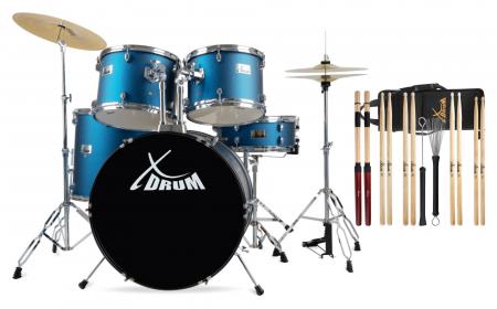 "XDrum Semi 22"" Standard Schlagzeug Set Satin Blue Sparkle Sticks Set"
