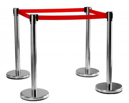 Stagecaptain PLS-200B Barricade Crowd Direction System – Silver 4-Piece SET