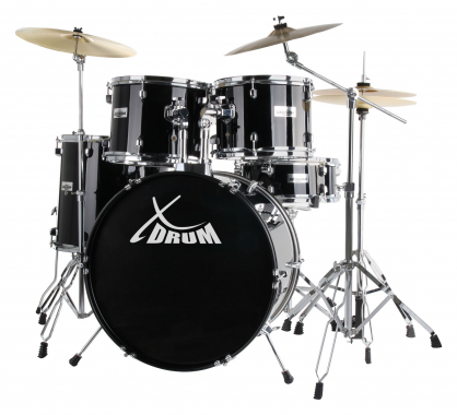 "XDrum Semi 20"" batterie studio noire SET incl. pied perche cymbale + cymbales crash"