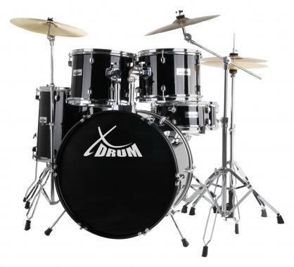 "XDrum Semi 20"" Studio Schlagzeug Midnight Black Set inkl. Galgenständer + Crash Becken"