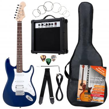 Rocktile Banger's Power Pack E-Gitarren Set, 7-Piece, Blue
