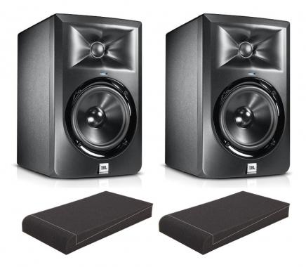 "JBL LSR 308 (Paar) SET mit Pronomic ISO-Stand 8"" Absorberplatten"