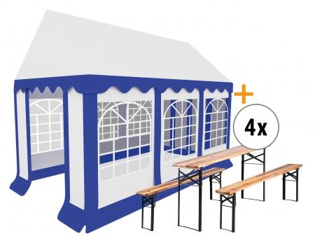 Stagecaptain Bavaria pavillon de jardin 3x6m set, 4 sets d'une table et 2 bancs compris
