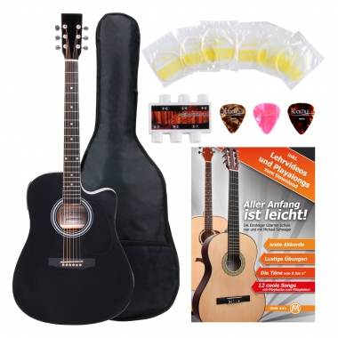 Classic Cantabile Western Guitar With Pickups Starter Set incl. 5-piece Accessory Set – black