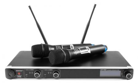 Omnitronic UHF-302 2-Kanal-Funkmikrofonsystem 823-832/863-865MHz  - Retoure (Zustand: sehr gut)