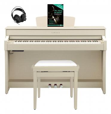 Yamaha CLP-635 WA Digitalpiano Weißesche SET mit Kopfhörer, Bank, Schule
