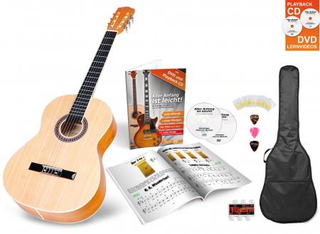 Classic Cantabile Acoustic Series AS-854 4/4 Konzertgitarre Starterset Natur mit Zubehör  - Retoure (Zustand: sehr gut)