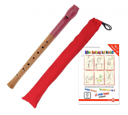 Classic Cantabile Pivella Set, Red recorder, baroque fingering with case