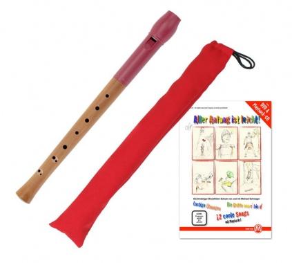 Classic Cantabile Pivella Set, Blockflöte Rot, barocke Griffweise mit Tasche und Flötenschule
