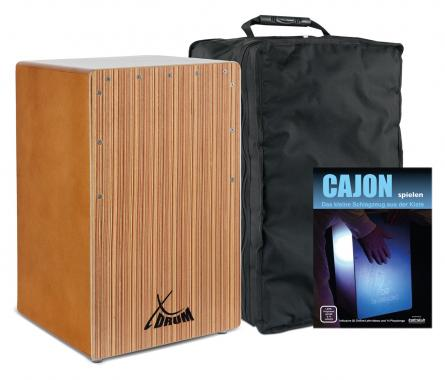 XDrum Cajon Primero Bass Port Walnut/Zebra Set incl. Cajon School & Bag