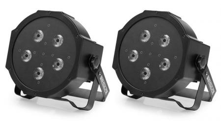 2 x Showlite FLP-5x10W Flat Panel Scheinwerfer Set