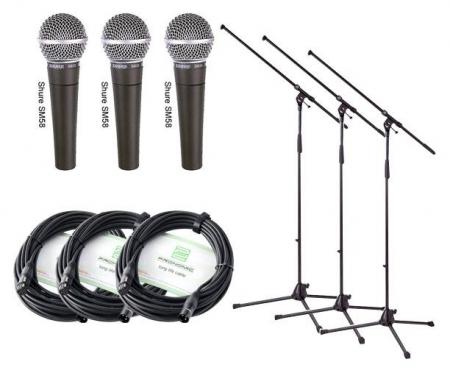 Shure SM 58-LCE Mikrofon Set 3x3 3 Mikros+Ständer+ Kabel
