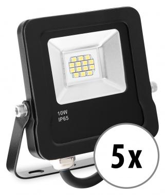 5x Showlite FL-3010 WW LED Fluter IP65 10 Watt 800 Lumen warm-weiß Set