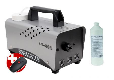 complete set Showlite SN-400G green LED fog machine 400W incl. remote control + 1 L liquid fog