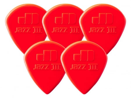 5er Set Dunlop Nylon Jazz III Plektrum 1,38 rot
