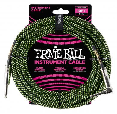 Ernie Ball 6077 Instrumentenkabel 3,05 m Schwarz/Grün