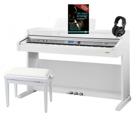 Classic Cantabile DP-A 410 WH Pianoforte digitale bianco lucido SET include panchetta e cuffie