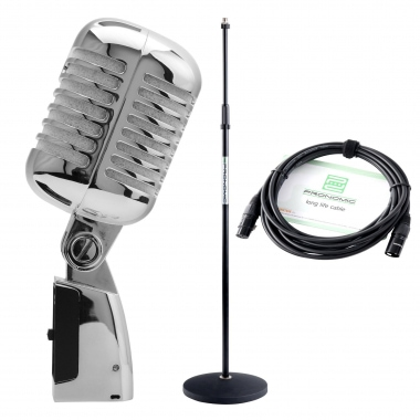 Pronomic DM-66S Elvis microphone dynamique argenté SET