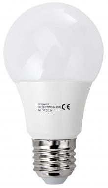 Showlite LED ampoule G60E27W06K30N 6 watts, 480 lumens, culot de l'ampoule E27, 3000 kelvins