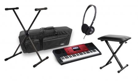 Casio CTK-6250 High-Grade-Keyboard schwarz-rot DELUXE SET mit Bank, Ständer, Kopfhörer und Tasche