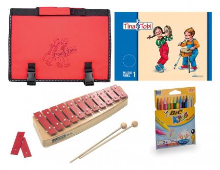 Früherziehungsset 5 - Tina und Tobi mit Glockenspiel, Stifte und Tasche