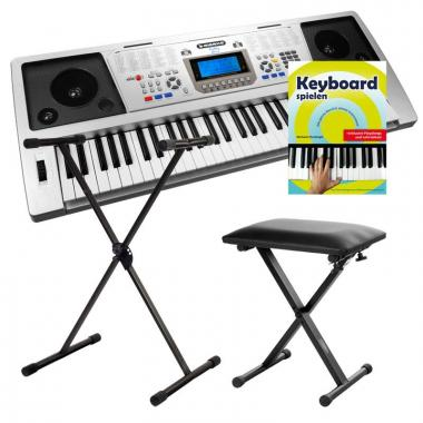 FunKey 61 Plus Keyboard SET inkl. Keyboardständer + Bank + Keyboardschule + CD