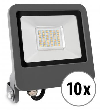 10x Showlite FL-4030 NW LED Fluter IP65 30 Watt 2400 Lumen neutral-weiß Set