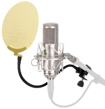Pronomic CM-100S studio condenser microphone silver SET incl. Pop fliter gold