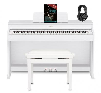 Casio Celviano AP-470 Digitalpiano, Weiß Set inkl. Pianobank, Kopfhörer & Klavierschule