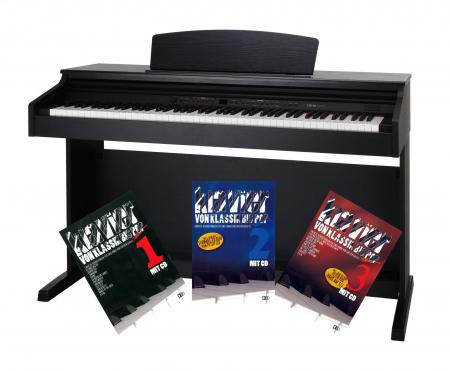 Classic Cantabile DP-50 SM E-Piano schwarz matt + Klavierschule Set