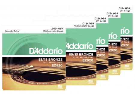 D'Addario EZ920 Medium Light - 5er Pack
