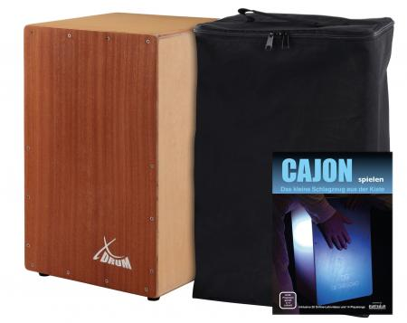 XDrum Primero Cajon Sapele incl. Pocket (snare sound, box drum, drum box, wood, incl. Gig bag and Allen key)