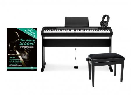 Casio CDP-130 BK Compact E-Piano Deluxe-SET schwarz mit Holzständer, Bank, Kopfhörer und Schule
