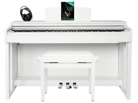 Yamaha CLP-625 WM Digitalpiano weiß matt SET mit Kopfhörer, Bank, Schule