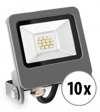 10x Showlite FL-4010 NW LED Fluter IP65 10 Watt 800 Lumen neutral-weiß Set