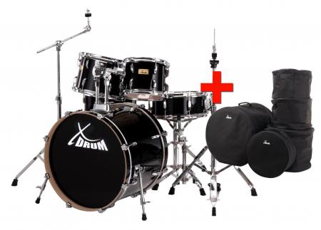 XDrum Stage II Fusion Schlagzeug Raven Black SparSET inkl. Taschen