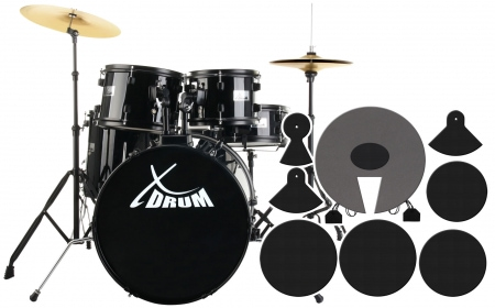 "XDrum Rookie 20"" Studio Drums Black plus damper set"