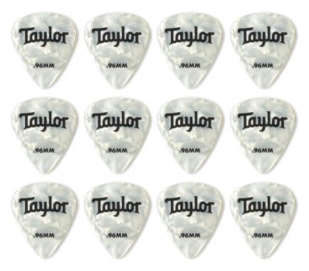 Taylor Celluloid 12er Pack Plektren White Pearl 0,96